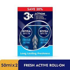 NIVEA MEN DEODORANT FRESH ACTIVE ROLL ON 50ML X 2