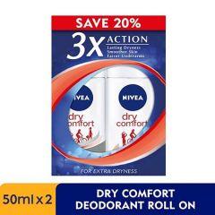 NIVEA DRY COMFORT DEODORANT ROLL ON 50ML X 2