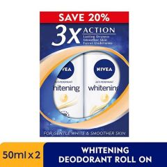 NIVEA DEODORANT WHITE PORE MINIMIZER ROLL ON 50ML X 2