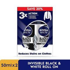 NIVEA FOR MEN DEODORANT BLACK+WHITE MALE ROLL ON 50MLX2