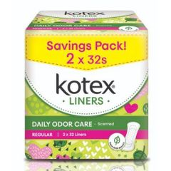 KOTEX PANTY LINERS DAILY ODOR CARE REGULAR DAUN SIRIH SCENTED 32S X 2