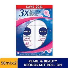 NIVEA DEODORANT PEARL & BEAUTY ROLL ON 50ML X 2