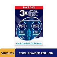 NIVEA FOR MEN DEODORANT 48HOUR COOL POWDER ROLL ON 50ML X 2