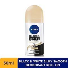 NIVEA DEODORANT BLACK & WHITE (F) SILKY SMOOTH ROLL ON 50ML