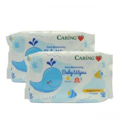 CARING EXTRA MOISTURISING BABY WIPES FRAGANCE FREE 30SX2