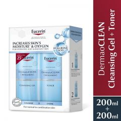 EUCERIN DERMATO CLEAN REFRESHING CLEANSING GEL 200ML + CLARIFYING TONER 200ML