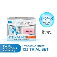 HADALABO HYDRATING MOIST 123 TRIAL SET (FACE WASH 12G + LOTION 30ML + LIGHT CREAM 14G)