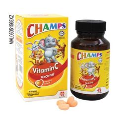 CHAMPS VITAMIN C 100MG ORANGE CHEWABLE TABLET 100S