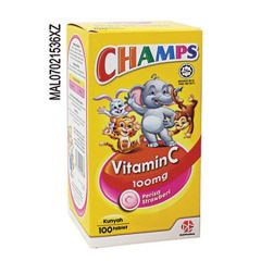 CHAMPS VITAMIN C 100MG STRAWBERRY CHEWABLE TABLET 100S