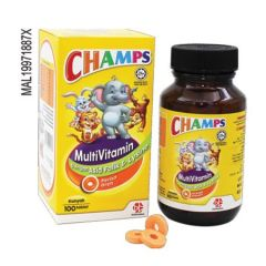 CHAMPS MULTIVITAMINS + FOLIC ACID & LYSINE ORANGE CHEWABLE TABLET 100S