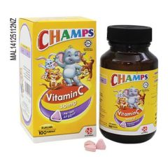 CHAMPS VITAMIN C 30MG BLACKCURRANT CHEWABLE TABLET 100S