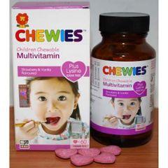 CHEWIES CHILDREN CHEWABLE MULTIVITAMIN + LYSINE  SUGAR FREE TABLET 60S