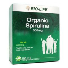 BiO-LiFE ORGANIC SPIRULINA VEGETABLE CAPSULE 100S X 2