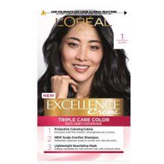LOREAL EXCELLENCE CREME TRIPLE CARE HAIR COLOUR - 1 BLACK 1S