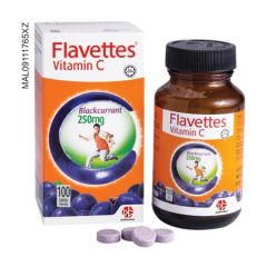 FLAVETTES VITAMIN C 250MG BLACKCURRANT CHEWABLE TABLET 100S