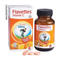 FLAVETTES VITAMIN C 500MG ORANGE SUGAR FREE CHEWABLE TABLET 50S