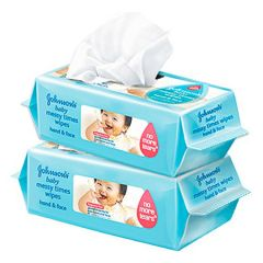 JOHNSONS BABY MESSY TIMES HAND & FACE WIPES 80S X 2