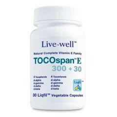 LIVE-WELL TOCOSPAN E 300+30 COMPLETE VITAMIN E VEGETABLE CAPSULE 30S
