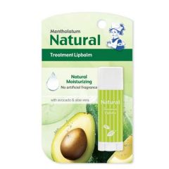 MENTHOLATUM NATURAL TREATMENT LIP BALM WITH AVOCADO & ALOE VERA FRAGRANCE FREE 3G