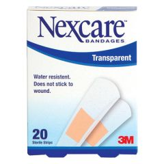 3M NEXCARE BANDAGES TRANSPARENT STRIP 20S
