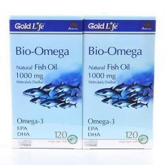 GOLD LIFE BIO-OMEGA NATURAL FISH OIL 1000MG VEGETABLE CAPSULE 120S X 2