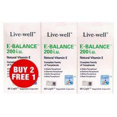 LIVE-WELL E-BALANCE 200IU VITAMIN E VEGETABLE CAPSULE 60S X 3