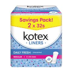 KOTEX PANTY LINERS DAILY FRESH REGULAR UNSCENTED 32S X 2