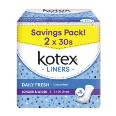 KOTEX PANTY LINERS DAILY FRESH LONGER & WIDER UNSCENTED 30S X 2