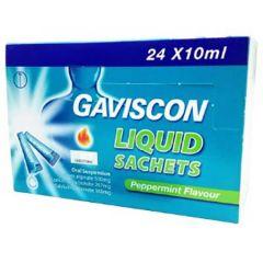 GAVISCON LIQUID ANTACID PEPPERMINT SACHET 10ML X 24S