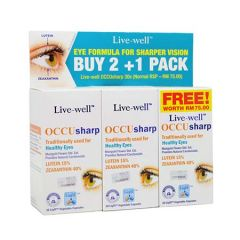 LIVE-WELL OCCU SHARP FOR HEALTHY EYES VEGETABLE CAPSULE 30S X 3
