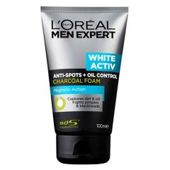 LOREAL MEN EXPERT WHITE ACTIV ANTI-SPOTS + OIL CONTROL CHARCOAL FOAM 100ML