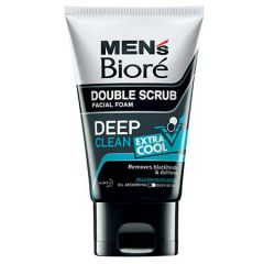 BIORE MENS DOUBLE SCRUB FACIAL FOAM DEEP CLEAN EXTRA COOL 100G