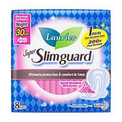 LAURIER PAD SUPER SLIM GUARD NIGHT WING ULTRA ABSORBENT 30CM 8S