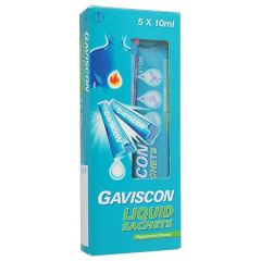 GAVISCON LIQUID ANTACID PEPPERMINT SACHET 10ML X 5S
