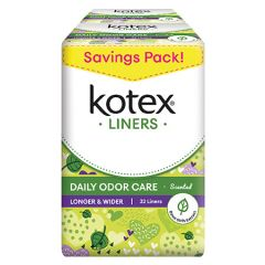 KOTEX PANTY LINERS DAILY ODOR CARE LONGER & WIDER DAUN SIRIH SCENTED 32S X 2
