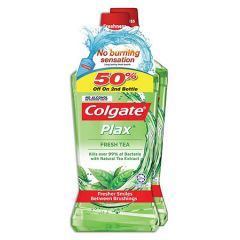 COLGATE PLAX FRESH TEA NO ALCOHOL MOUTHWASH 750ML X 2