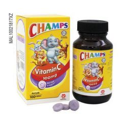 CHAMPS VITAMIN C 100MG SACCHARIN FREE BLACKCURRANT CHEWABLE TABLET 100S