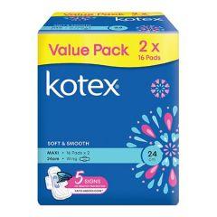 KOTEX SOFT & SMOOTH MAXI WING 16S X 2