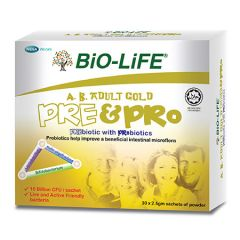 BIO-LIFE A.B. ADULT GOLD PRE&PRO PRE & PROBIOTICS SACHET 2.5G X 30S