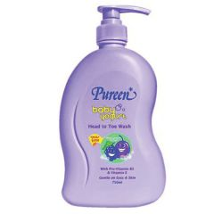 PUREEN BABY YOGURT HEAD TO TOE WASH-BLACKCURRANT & PLUM 750ML