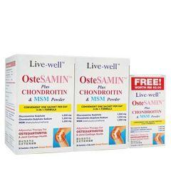 LIVE-WELL OSTESAMIN PLUS CHONDROITIN & MSM POWDER SACHET 5.8G X 30S X 2 + 10S