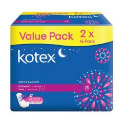 KOTEX SOFT & SMOOTH PAD OVERNIGHT NON WING 28CM 16S X 2