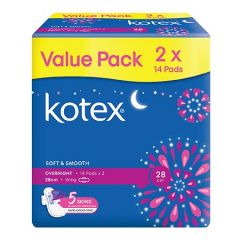 KOTEX SOFT & SMOOTH PAD OVERNIGHT WING 28CM 14SX2