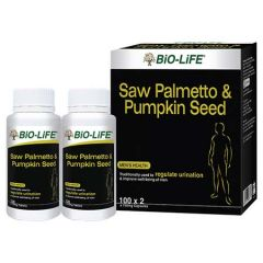 BiO-LiFE SAW PALMETTO & PUMPKIN SEED MENS HEALTH CAPSULE 100S X 2
