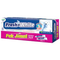 FRESH & WHITE TOOTHPASTE EXTRA COOL MINT 225G X 2