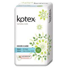 KOTEX NATURAL CARE PAD ODOR-CARE MAXI NON WING DAUN SIRIH 24CM 16S