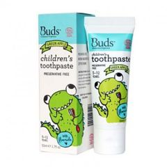 BUDS CHILDRENS TOOTHPASTE WITH FLUORIDE GREEN APPLE 50ML