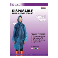 J.CALLI DISPOSABLE LONG SLEEVES PONCHO RAIN COAT ADULT SIZE 1S