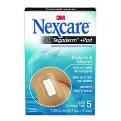 3M NEXCARE TEGADERM+PAD WATERPRROF TRANSPARENT DRESSING 5S (60.3MM X 101MM)