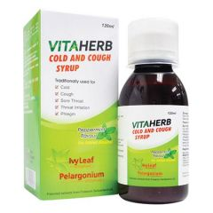 VITAHERB COLD AND COUGH PEPPERMINT FLAVOUR SYRUP 120ML